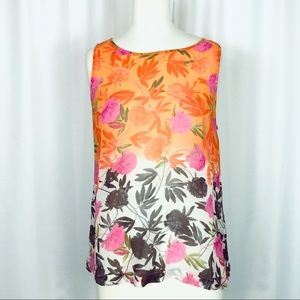 Joie Silk Orange, Black, Pink Sheer Floral Tank M